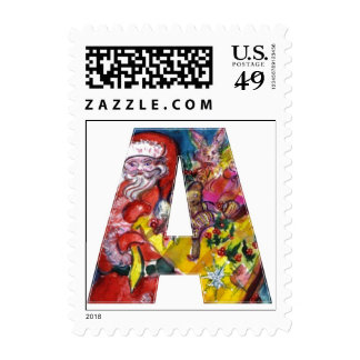 CHRISTMAS A  LETTER  / SANTA  WITH GIFTS MONOGRAM POSTAGE