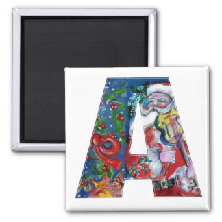 CHRISTMAS A LETTER / SANTA  WITH VIOLIN MONOGRAM 2 INCH SQUARE MAGNET