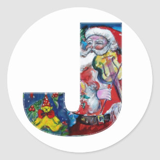 CHRISTMAS A LETTER  / SANTA WITH VIOLIN MONOGRAM CLASSIC ROUND STICKER