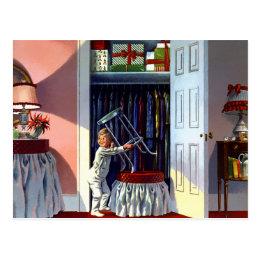 Christmas - A Peek at the Presents Postcard