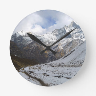 Christmas abstract mountains Himalaya Round Clock