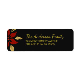 Christmas Abstract Red Poinsettia Return Address Label