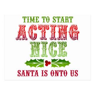 Christmas Act Nice Postcard