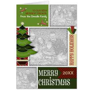 Christmas ADD YOUR PHOTO Whimsical Tree Card