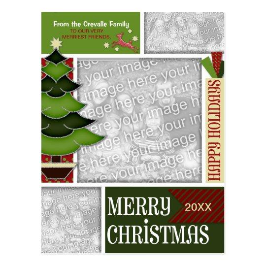 Christmas ADD YOUR PHOTO Whimsical Tree Postcard