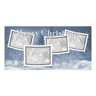 Christmas ADD YOUR PHOTOS Blue Snow Scene Card