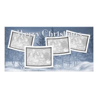Christmas ADD YOUR PHOTOS Blue Snow Scene Photo Card