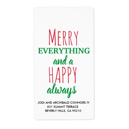 Christmas Address Label - Holiday Address