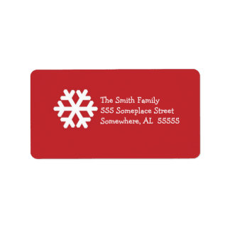 Christmas Address Label-Red and White Snowflake