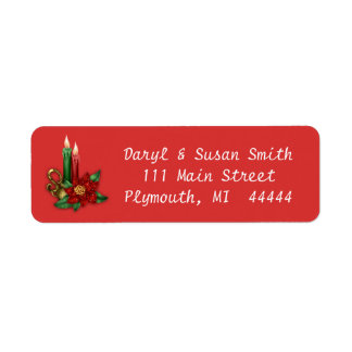 Christmas Address Label with Candles