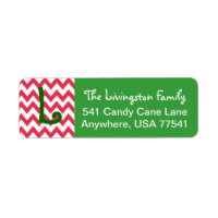 Christmas Address Labels- Chevron Monogram Label