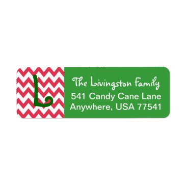 Christmas Themed Christmas Address Labels- Chevron Monogram Label