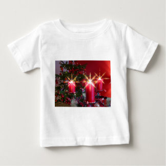 Christmas, Advent, burning pink candles festively, Baby T-Shirt