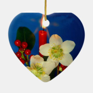 Christmas, Advent, burning red candles festively, Ceramic Ornament