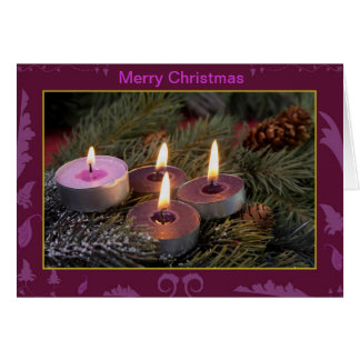 Christmas advent candles greeting card