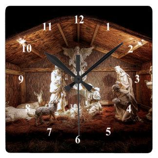 Christmas Advent Jesus Nativity Manger Scene Square Wall Clock