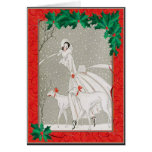 Christmas Afghan Hounds Greeting Card