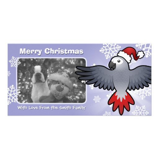 Christmas African Grey / Amazon / Parrot Photo Card Template