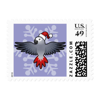 Christmas African Grey / Amazon / Parrot Postage Stamp