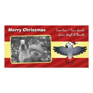Christmas African Grey (medium bird) Card