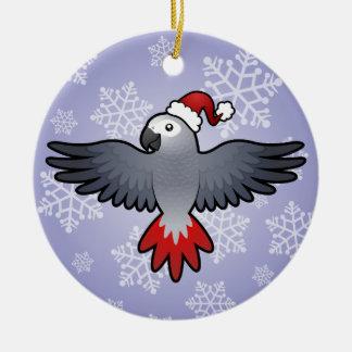 Christmas African Grey (medium bird) Ceramic Ornament