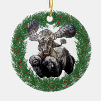 Christmas Agility Poodle Design Ceramic Ornament