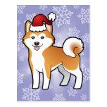 Christmas Akita Inu / Shiba Inu Postcard