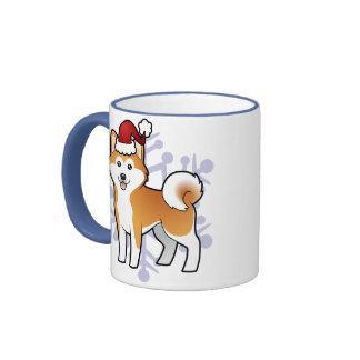 Christmas Akita Inu / Shiba Inu Ringer Mug