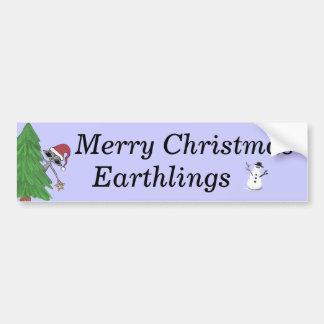 Christmas Alien lkk, Little Snowman, Merry Chri... Car Bumper Sticker