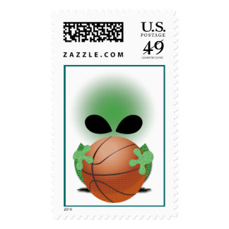 Christmas Alien Postage Stamp