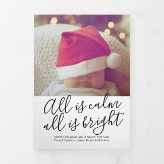 Christmas All Is Calm All Is Bright Personalized Tri-Fold Holiday Card
