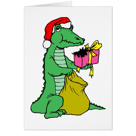 Christmas Alligator Card