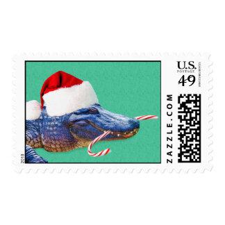 Christmas Alligator Postage Stamp