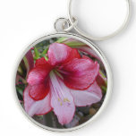 Christmas Amaryllis Red and White Holiday Floral Keychain