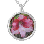 Christmas Amaryllis Red and White Holiday Floral Silver Plated Necklace