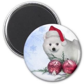 Christmas American Eskimo dog 2 Inch Round Magnet