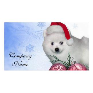 Christmas American Eskimo dog Business Card Templates