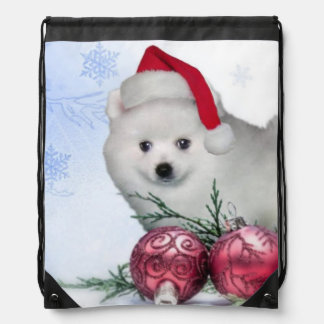 Christmas American Eskimo dog Drawstring Bag