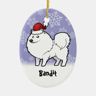 Christmas American Eskimo Dog / German Spitz Ceramic Ornament
