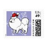 Christmas American Eskimo Dog / German Spitz Postage Stamps