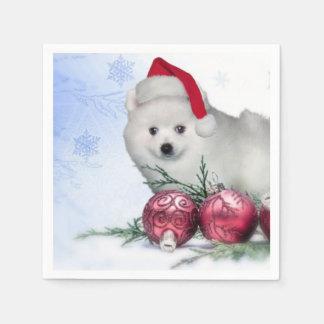 Christmas American Eskimo puppy Standard Cocktail Napkin