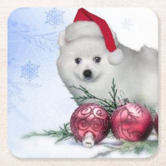 Christmas American Eskimo puppy Square Paper Coaster