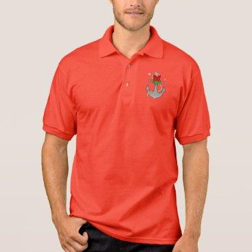 Ocean Themed Christmas Anchor with Mistletoe and Red Bow Polo Shirt