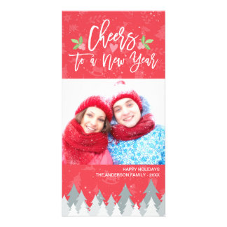 Christmas and Cheers to a New Year Greeting Photo Card