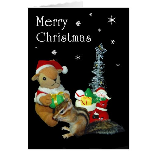 Christmas and Chipmunk (photo) Card