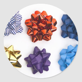 Christmas and Decorative Bows Classic Round Sticker