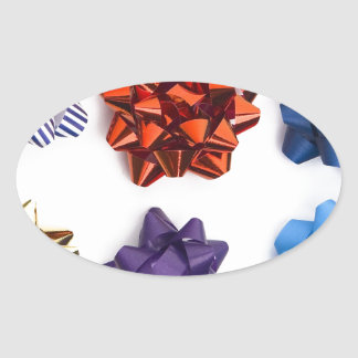 Christmas and Decorative Bows Oval Sticker