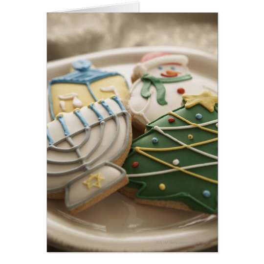 Christmas and Hanukkah cookies on plate, Card