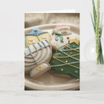 """Christmas and Hanukkah cookies on plate, Holiday Card<br><div class=""""desc"""">AssetID: 200486001-001 / {Thomas Northcut} / Christmas and Hanukkah cookies on plate, </div>"""