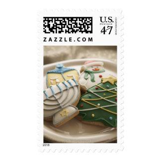 Christmas and Hanukkah cookies on plate, Postage Stamp